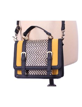 small-satchel-bag-90s-black-yellow-vegan-leather-zig-zag-saddle-bag-shoulder-crossbody-little-hippie-woman-purse-handbag-boho-textured-pouch by betaapparel