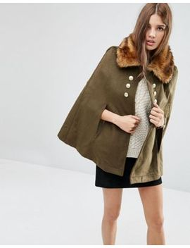 asos-military-cape-with-faux-fur-collar by asos-collection