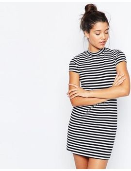 asos-a-line-shift-dress-with-high-neck-in-stripe by asos-collection