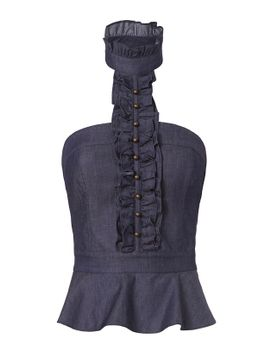 floy-ruffle-front-denim-top by exclusive-for-intermix