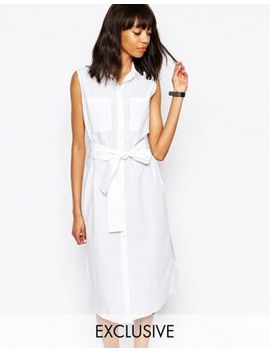 monki-exclusive-tie-front-shirt-dress by monki