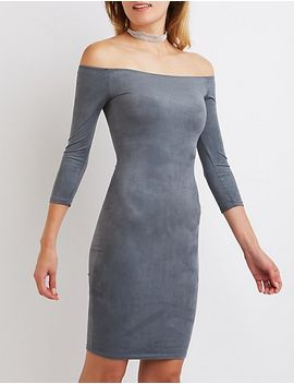 faux-suede-off-the-shoulder-dress by charlotte-russe
