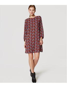 petite-shadow-floral-shift-dress by loft