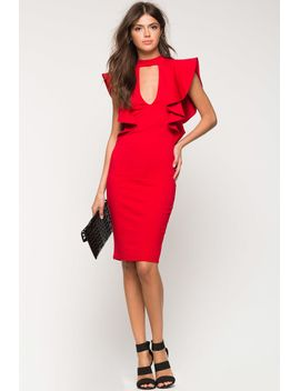 gigi-ruffle-sleeve-sheath-dress by agaci
