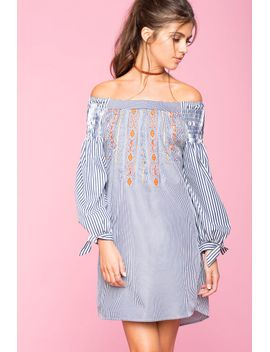 embroidered-stripe-off-shoulder-dress by agaci