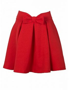 red-bowknot-waist-pleat-detail-skater-skirt by choies