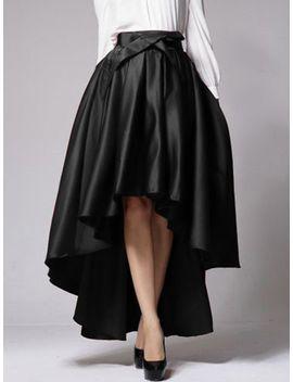 black-bowknot-waist-hi-lo-skater-skirt by choies