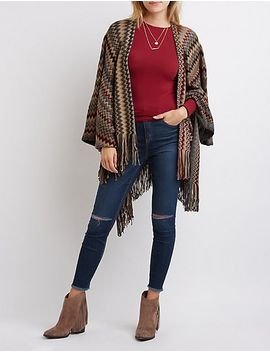chevron-fringed-poncho-cardigan by charlotte-russe