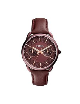 fossil®-womens-35mm-tailor-multifunction-watch-with-wine-leather-strap by fossilmore