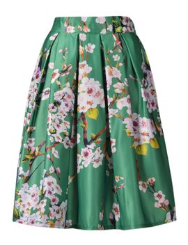 green-sakura-skater-skirt-with-pleat by choies