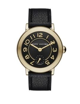 riley-goldtone-stainless-steel-&-leather-strap-watch by marc-jacobs