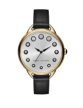 betty-goldtone-stainless-steel-&-leather-strap-watch by marc-jacobs