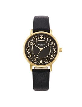 kate-spade-new-york®-goldtone-metro-scallop-black-leather-watch by kate-spade-new-yorkmore