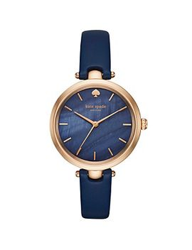 kate-spade-new-york®-womens-navy-leather-and-rose-goldtone-holland-watch by bon-ton
