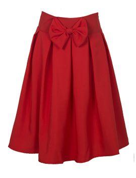 red-bowknot-waist-midi-skater-skirt by choies
