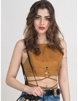 camel-suedette-cut-away-multi-strap-tied-crop-top by choies