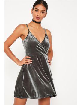 grey-velvet-skater-dress by missguided