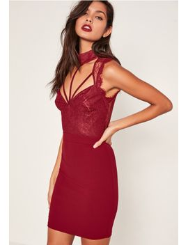 red-lace-cami-choker-bodycon-dress by missguided