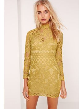 petite-lace-high-neck-mini-dress-chartreuse-green by missguided