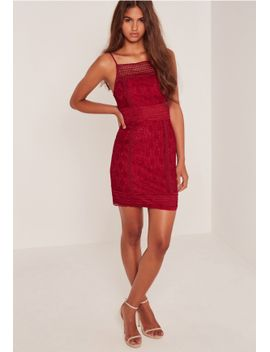 lace-square-neck-midi-dress-burgundy by missguided