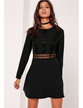 crochet-trim-top-skater-dress-black by missguided