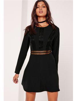 crochet-trim-top-skater-dress-black by missguided