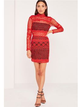 lace-overlay-long-sleeve-bodycon-dress-red by missguided