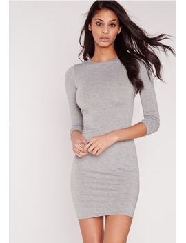 jersey-bodycon-mini-dress-grey by missguided
