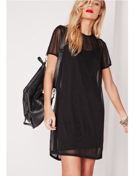short-sleeve-mesh-t-shirt-dress-black by missguided