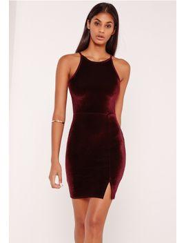 90s-neck-split-hem-velvet-bodycon-dress-burgundy by missguided