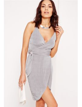 strappy-slinky-tie-waist-bodycon-dress-grey by missguided