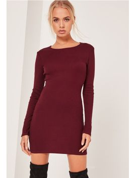 long-sleeve-bodycon-mini-dress-burgundy by missguided