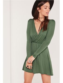wrap-long-sleeve-skater-dress-green by missguided