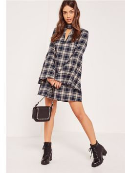 blue-check-choker-swing-dress by missguided