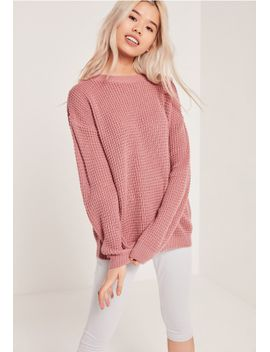 waffle-knit-crew-neck-jumper-pink by missguided