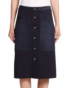 slyn-fixture-ponte-suede-skirt by theory