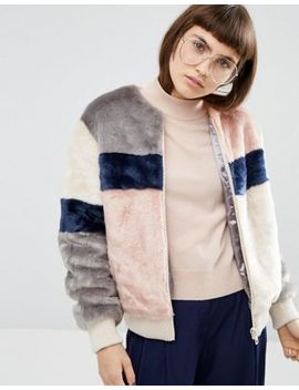 asos-bomber-jacket-in-patched-faux-fur by asos-collection