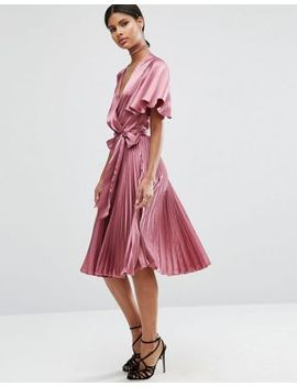 asos-pleated-wrap-midi-dress-in-satin by asos-collection