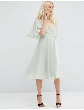 asos-wrap-front-midi-dress-with-angel-sleeve by asos-collection