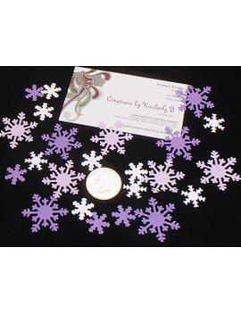 100-snowflake-confetti-assortment-purple-and-white,-christmas-decoration,-scrapbook-embellishment,-paper-snowflakes by creationsbykimberlyb