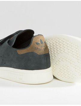 adidas-originals---stan-smith---baskets-en-nubuck-avec-brides---noir by adidas