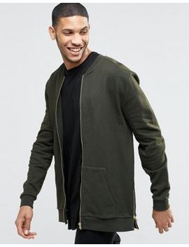asos-longline-jersey-bomber-jacket-with-side-zips by asos