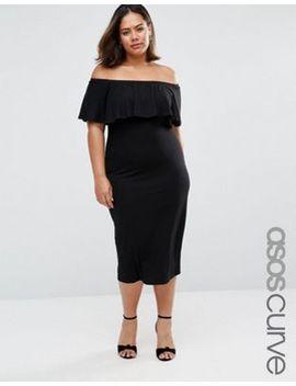 asos-curve-ruffle-off-shoulder-bardot-pencil-midi-dress by asos-curve