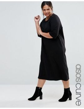 asos-curve-cotton-midi-t-shirt-dress-with-raglan-sleeve-and-boat-neck by asos-curve