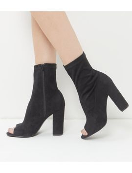 wide-fit-black-peep-toe-high-ankle-boots by new-look