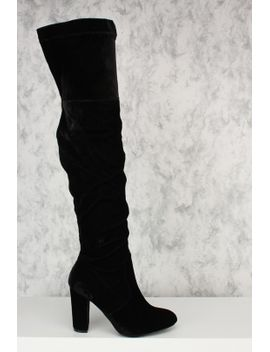 black-round-pointy-toe-chunky-heel-thigh-high-boots-velvet by ami-clubwear