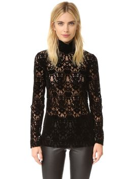 velvet-lace-turtleneck by dkny