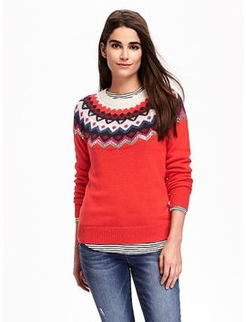 sequined-fair-isle-sweater-for-women by old-navy