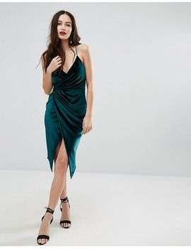 boohoo-velvet-midi-wrap-dress by boohoo