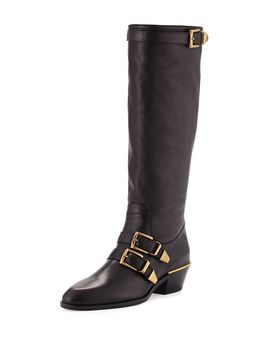 leather-buckle-knee-boot,-black by chloe